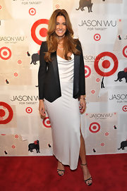 Kelly Bensimon topped off her tailored ensemble with black strappy sandals.