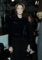 Stephanie Seymour sported a tough-chic look with this black suede moto jacket at the Jason Wu fashion show.