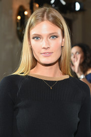 Constance Jablonski showed off a perfect straight hairstyle at the Jason Wu fashion show.