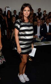 Miroslava Duma showed off her sporty maternity style with this silver and black striped T-shirt dress at the Jason Wu fashion show.