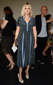 Laura Brown donned a breezy pin-dot shirtdress for the Jason Wu fashion show.