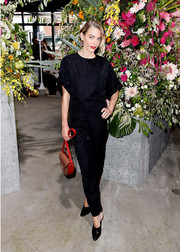 Jaime King completed her all-black look with a pair of ankle-tie pumps, also by Jason Wu.
