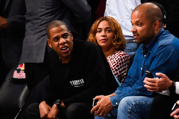 Jay-Z Beyonce Knowles Oklahoma City Thunder v Brooklyn Nets