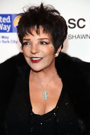 Liza Minnelli looked even more fabulous in a diamond studded pendant necklace with her sequined dress and fur coat.
