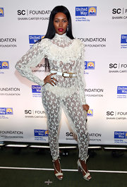 Jessica White certainly made a statement at the United Way Foundation Benefit in this lace ruffled jumpsuit.