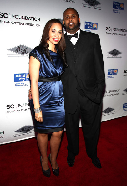 Amber Sabathia wore a blue cocktail dress to the Shawn Carter Foundation.