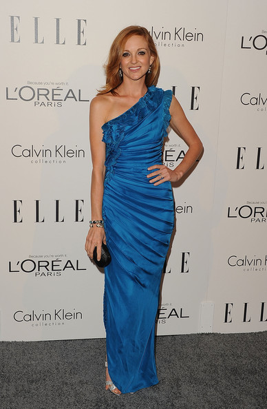 Jayma Mays Box Clutch [dress,clothing,shoulder,cocktail dress,cobalt blue,fashion model,electric blue,joint,hairstyle,fashion,jayma mays,18th annual women in hollywood tribute - arrivals,california,los angeles,four seasons hotel,elle,18th annual women in hollywood tribute]