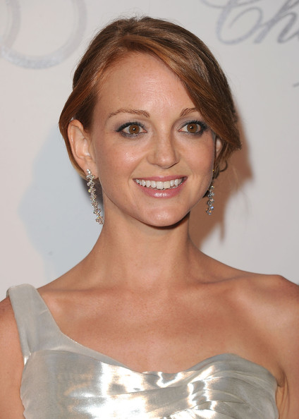 Jayma Mays Dangling Diamond Earrings [hair,hairstyle,eyebrow,shoulder,beauty,blond,chin,lip,skin,smile,arrivals,jayma mays,emmy week,california,los angeles,audi,chopard,party,kick-off,red carpet style kick-off party]