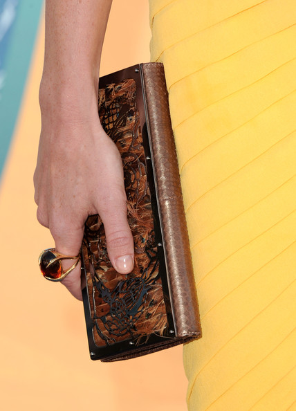 Jayma Mays Cocktail Ring [brown,fashion,hand,leather,finger,joint,material property,wallet,fashion accessory,nail,arrivals,jayma mays,2010 teen choice awards,gibson amphitheatre,universal city,california]