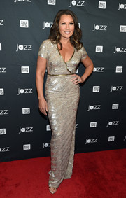 Vanessa Williams sheathed her ageless figure in a gold sequined column dress for the Jazz and Broadway event.
