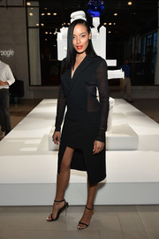 Selita Ebanks looked sharp in a sheer-panel black tuxedo dress at the Jeff Koons x Google event.