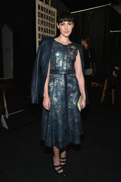 Jena Malone Leather Jacket [clothing,dress,fashion,hairstyle,cocktail dress,event,fashion design,textile,haute couture,fashion model,jena malone,mercedes-benz fashion week,fashion show,j. mendel fall,j. mendel - backstage,lincoln center,new york city,the theatre]