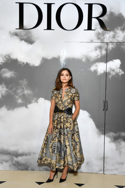 Jenna-Louise Coleman Print Dress [haute couture fall,clothing,fashion model,fashion,dress,sky,photography,pattern,design,fashion design,poster,christian dior,jenna coleman,part,paris,france,christian dior haute couture fall,photocall - paris fashion week,paris fashion week,show]