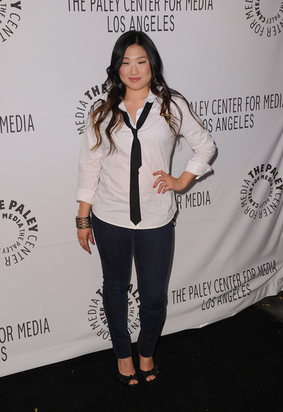Jenna Ushkowitz Narrow Solid Tie [glee,clothing,hairstyle,shoulder,fashion,outerwear,footwear,joint,long hair,top,fashion design,paleyfest 2011,jenna ushkowitz,beverly hills,california,saban theatre,paley center for media,event]