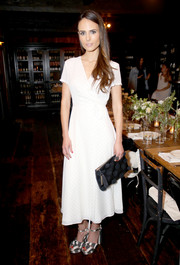 Jordana Brewster looked summery in a white pin-dot wrap dress at the Jenni Kayne + Loeffler Randall Pop-Up in LA.