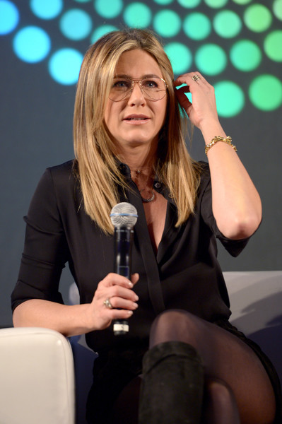 Jennifer Aniston Button Down Shirt [music artist,singing,singer,spokesperson,event,performance,television presenter,public speaking,talent show,jennifer aniston,california,los angeles,the reef,entertainment weekly,stars of office christmas party,popfest,panel]