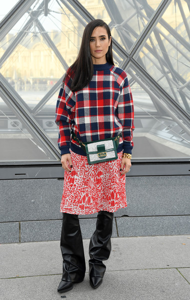 Jennifer Connelly Crewneck Sweater [plaid,clothing,tartan,pattern,street fashion,fashion,footwear,design,textile,outerwear,jennifer connelly,part,paris,france,louis vuitton,paris fashion week womenswear fall,photocall - paris fashion week womenswear fall]