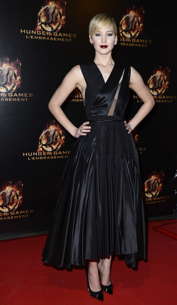 Jennifer Lawrence Little Black Dress [the hunger games: catching fire,fashion model,little black dress,dress,flooring,fashion,carpet,cocktail dress,gown,red carpet,fashion show,jennifer lawrence,le grand rex,france,paris premiere]