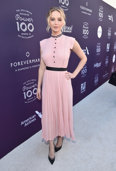 Jennifer Lawrence Pumps [red carpet,the hollywood reporter,clothing,dress,fashion,pink,carpet,hairstyle,red carpet,premiere,flooring,cocktail dress,women in entertainment breakfast,jennifer lawrence,california,los angeles,hollywood reporter,milk studios,women in entertainment breakfast]