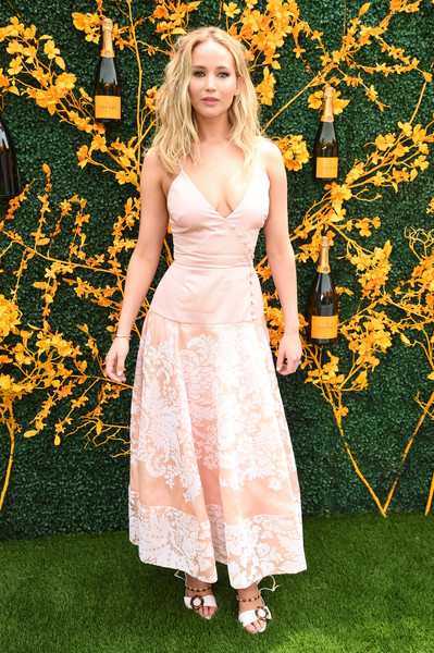 Jennifer Lawrence Strappy Sandals [dress,clothing,blond,yellow,lady,fashion,gown,long hair,spring,grass,arrivals,jennifer lawrence,liberty state park,jersey city,new jersey,veuve clicquot polo classic]