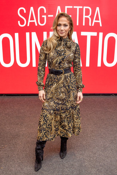 Jennifer Lopez Beaded Dress [clothing,fashion,footwear,dress,carpet,joint,premiere,fashion model,fashion design,boot,sag-aftra foundation conversation: ``hustlers,new york city,robin williams center,jennifer lopez]