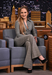 Jennifer Lopez kept it classic in a glen plaid button-down by Sophie Theallet during her appearance on 'Jimmy Fallon.'