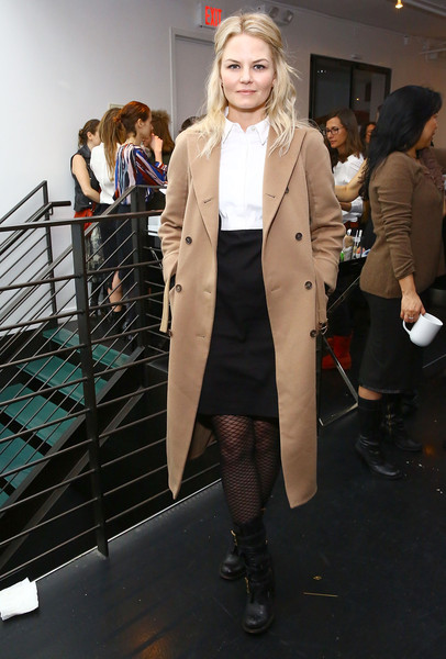 Jennifer Morrison Motorcycle Boots [clothing,fashion,street fashion,coat,outerwear,fashion show,overcoat,blond,fashion model,footwear,jennifer morrison attends the womens filmmaker brunch,new york city,womens filmmaker brunch - 2015,company 3,tribeca film festival]