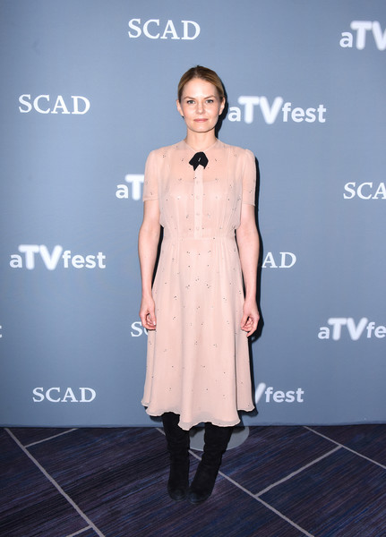 Jennifer Morrison Midi Dress [once upon a time,day one,clothing,dress,fashion,fashion model,shoulder,fashion design,footwear,joint,fashion show,cocktail dress,jennifer morrison,press junket,georgia,atlanta,scad presents atvfest,scad]