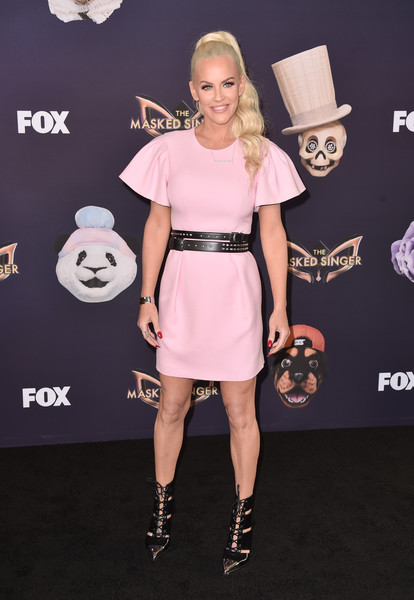 Jenny McCarthy Cutout Boots [the masked singer,season,clothing,dress,pink,cocktail dress,shoulder,fashion,footwear,premiere,carpet,joint,arrivals,jenny mccarthy,the bazaar,california,fox,fox,premiere,premiere]