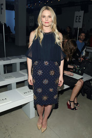 Jennifer Morrison paired her blouse with a star-beaded pencil skirt.