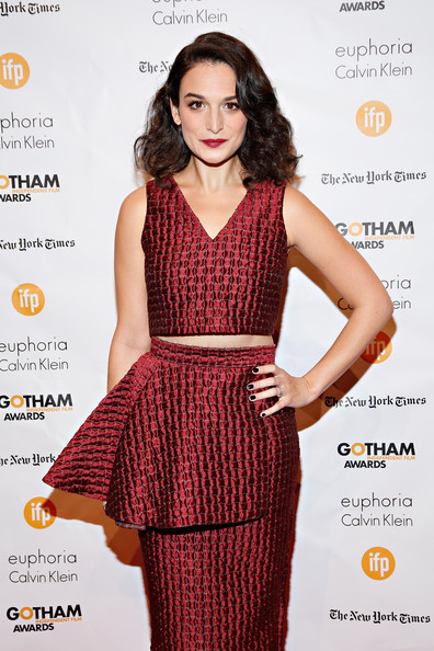 Jenny Slate Dark Nail Polish [clothing,fashion model,dress,fashion,cocktail dress,waist,long hair,fashion design,red carpet,neck,new york city,cipriani wall street,gotham independent film awards - arrivals,jenny slate]