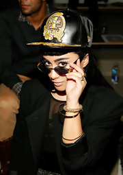 Natalia Kills rocked her own style with this leather baseball cap with a unique design.