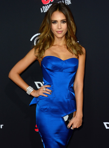 Jessica Alba Diamond Bracelet [sin city: a dame to kill for,premiere of dimension films,clothing,fashion model,cobalt blue,dress,electric blue,cocktail dress,strapless dress,long hair,fashion,hairstyle,jessica alba,arrivals,tcl chinese theatre,california,hollywood,dimension films,premiere]