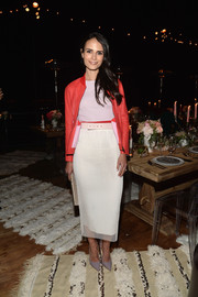 Jordana Brewster injected a bright pop with a red leather jacket, also by Vionnet.