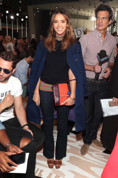 Jessica Alba Bootcut Jeans [fashion,event,footwear,fashion show,fashion design,fashion accessory,shoe,haute couture,tory burch,jessica alba,front row,new york city,the whitney museum of american art,new york fashion week,fashion show]