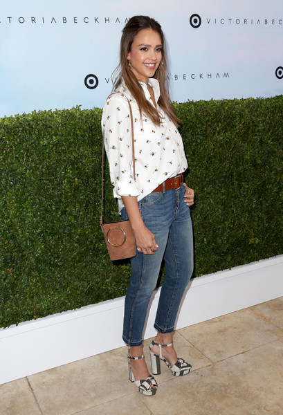 Jessica Alba Skinny Jeans [jeans,clothing,denim,footwear,fashion model,shoulder,fashion,pattern,shoe,outerwear,victoria beckham,jessica alba,los angeles,california,target,launch event,target launch event]