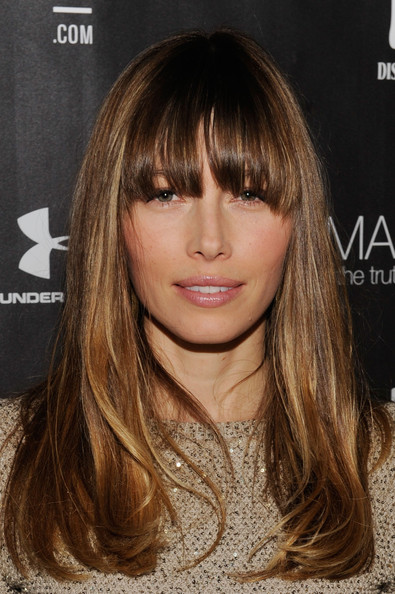 Jessica Biel Long Straight Cut with Bangs [hair,face,hairstyle,blond,hair coloring,brown hair,eyebrow,bangs,layered hair,long hair,the next generation filmmaker dinner series presents,emanuel and the truth about fishes,park city,utah,jessica biel]