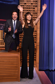 Jessica Biel was sporty-chic in a black mesh-panel jumpsuit by Elie Saab during her appearance on 'Jimmy Fallon.'