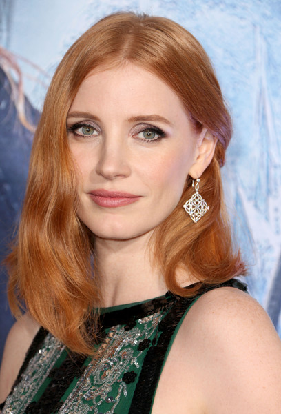 Jessica Chastain Diamond Chandelier Earrings [the huntsman: winters war,hair,eyebrow,human hair color,beauty,blond,hairstyle,chin,layered hair,long hair,forehead,arrivals,jessica chastain,regency village theatre,california,universal pictures,westwood,premiere]