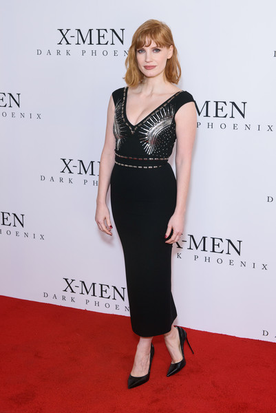 Jessica Chastain Beaded Dress [x-men: dark phoenix,fan event photocall,clothing,dress,red carpet,carpet,shoulder,fashion,hairstyle,premiere,cocktail dress,waist,jessica chastain,london,england,picturehouse central,fan event]