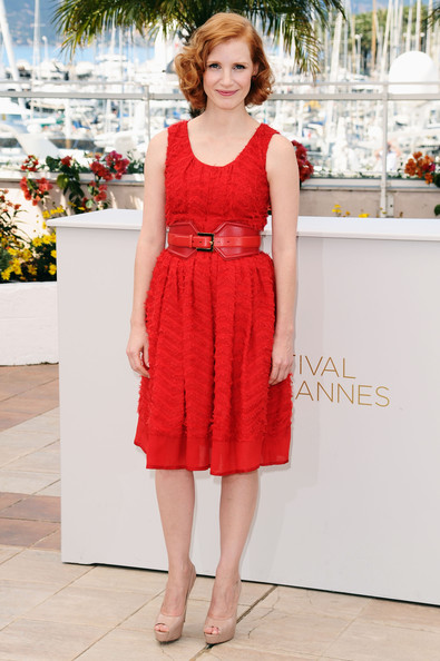 Jessica Chastain Day Dress [the tree of life,clothing,dress,red,cocktail dress,waist,fashion,day dress,neck,footwear,formal wear,jessica chastain,photocall,photocall - 64th,cannes,france,cannes film festival,palais des festivals]