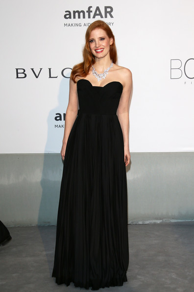 Jessica Chastain Strapless Dress