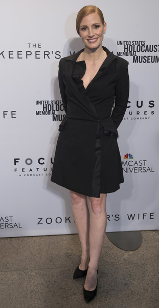 Jessica Chastain Tuxedo Dress [the zookeepers wife,clothing,dress,little black dress,cocktail dress,fashion,shoulder,leg,premiere,formal wear,suit,jessica chastain,united states holocaust memorial museum,washington dc screening]