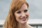 Jessica Chastain Long Wavy Cut with Bangs
