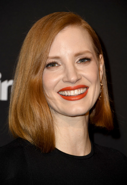 Jessica Chastain Asymmetrical Cut [marie claire change makers celebration,jessica chastain,hair,face,lip,eyebrow,hairstyle,facial expression,chin,smile,blond,beauty,hills penthouse,west hollywood,california,arrivals]