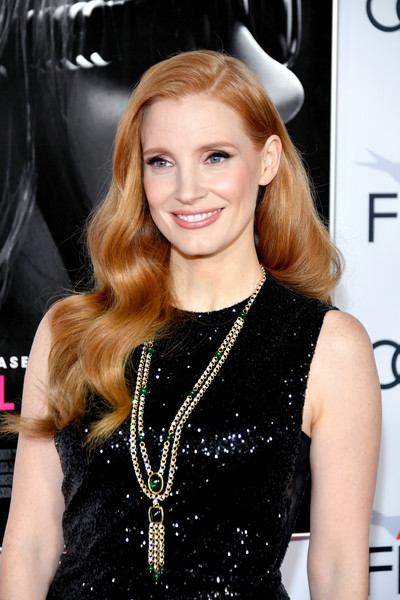 Jessica Chastain Gemstone Statement Necklace [mollys game,hair,hairstyle,blond,long hair,lip,dress,brown hair,hair coloring,little black dress,smile,arrivals,closing night gala - screening of mollys game,jessica chastain,screening,tcl chinese theatre,california,afi fest,audi,closing night gala]