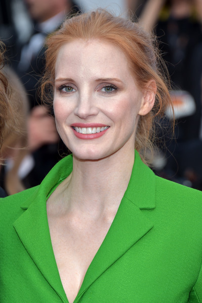 Jessica Chastain Loose Ponytail [the meyerowitz stories,hair,face,hairstyle,blond,eyebrow,beauty,chin,lip,long hair,brown hair,red carpet arrivals,jessica chastain,cannes,france,cannes film festival,premiere,palais des festivals]