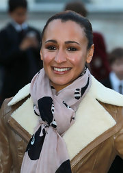 Jessica Ennis pulled her hair back in a simple ponytail for her Jaguar photocall.