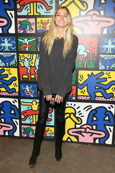 Jessica Hart Crewneck Sweater [paris jackson celebrate the launch,clothing,footwear,cool,fashion,electric blue,art,street fashion,leg,photography,style,keith haring,stacey bendet,alice olivia,jessica hart,new york city,highline stages,launch]