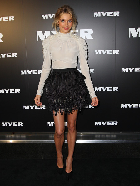Jessica Hart Fitted Blouse [clothing,fashion model,fashion,shoulder,dress,cocktail dress,joint,leg,footwear,carpet,jessica hart,arrivals,myer a/w 2012 collection launch,melbourne,australia]
